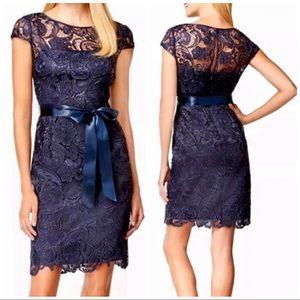 Adrianna Papell floral lace navy sheath dress sz 4